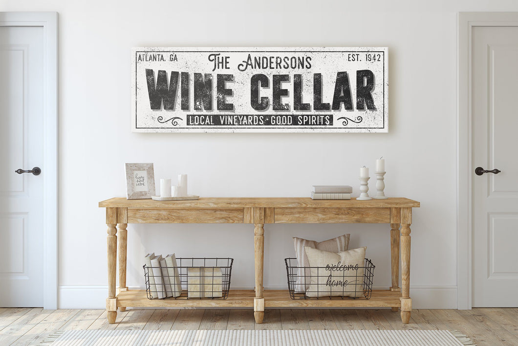 CUSTOM GRUNGE WHITE FAMILY WINE CELLAR SIGN (EXTRA WIDE) Denver to Dallas