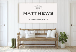 CUSTOM PLAIN WHITE FAMILY NAME SIGN (WIDE) Denver to Dallas