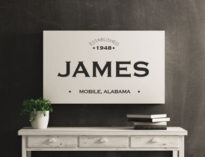 CUSTOM PLAIN WHITE FAMILY NAME SIGN (WIDE) Denver to Dallas METAL 10X20