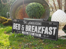 Load image into Gallery viewer, CUSTOM RUST BLACK FAMILY BED & BREAKFAST SIGN (EXTRA WIDE) Denver to Dallas
