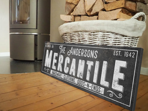 CUSTOM RUST BLACK FAMILY MERCANTILE SIGN (EXTRA WIDE) Denver to Dallas