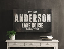Load image into Gallery viewer, CUSTOM RUST BLACK FAMILY NAME SIGN (WIDE) Denver to Dallas METAL 10X20