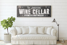 Load image into Gallery viewer, CUSTOM RUST BLACK FAMILY WINE CELLAR SIGN (EXTRA WIDE) Denver to Dallas