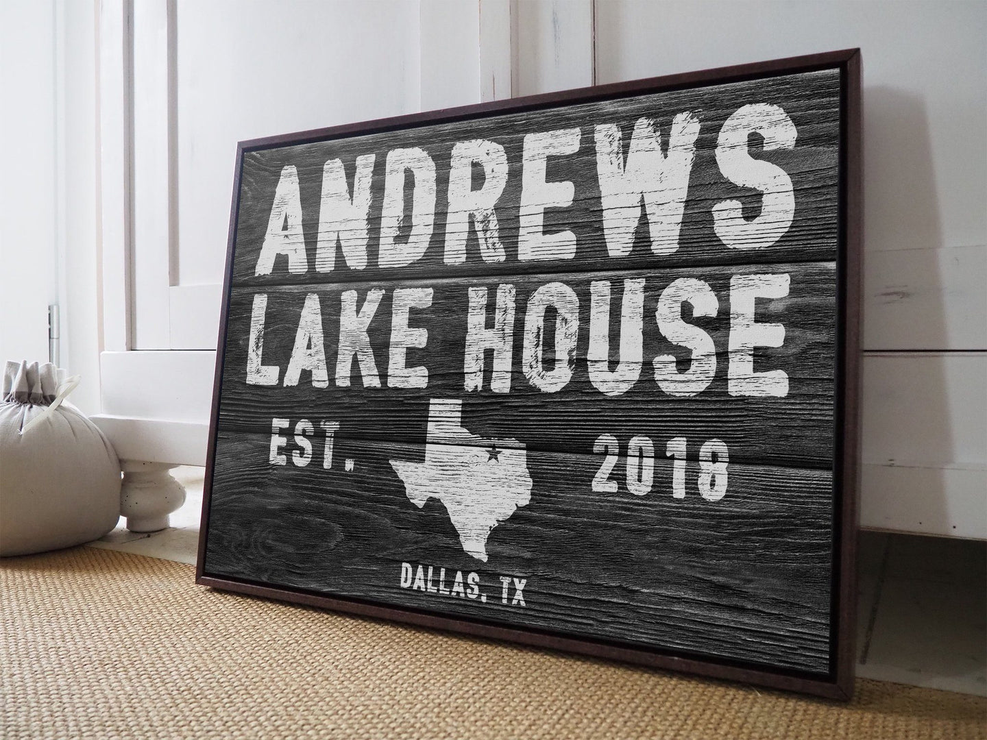 CUSTOM RUSTIC FAMILY DETAILS BLACK FAUX WOOD SIGN CUSTOM GIFT PRINTS DenverToDallas