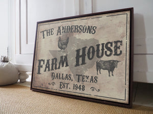 CUSTOM VINTAGE FARM HOUSE SIGN CUSTOM GIFT PRINTS DenverToDallas