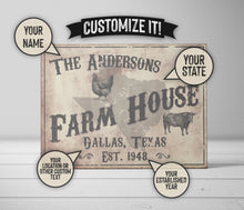 Load image into Gallery viewer, CUSTOM VINTAGE FARM HOUSE SIGN CUSTOM GIFT PRINTS DenverToDallas