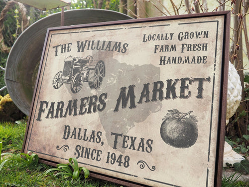 CUSTOM VINTAGE FARMERS MARKET SIGN CUSTOM GIFT PRINTS DenverToDallas