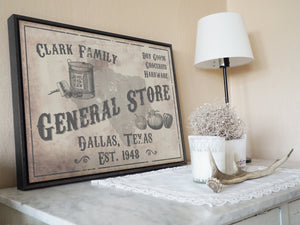 CUSTOM VINTAGE GENERAL STORE SIGN CUSTOM GIFT PRINTS DenverToDallas