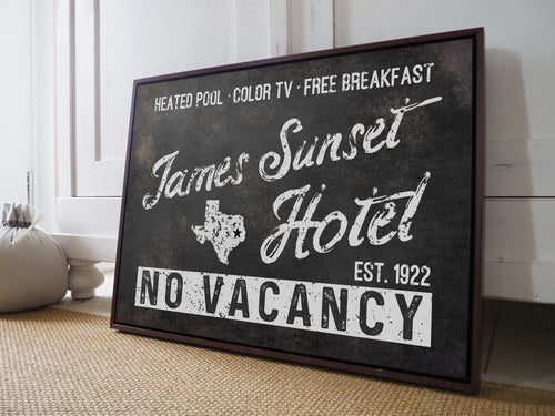 CUSTOM VINTAGE NO VACANCY HOTEL FAMILY SIGN CUSTOM GIFT PRINTS DenverToDallas