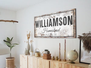 CUSTOM RUSTY WHITE BOLD AND FANCY SIGN (WIDE)