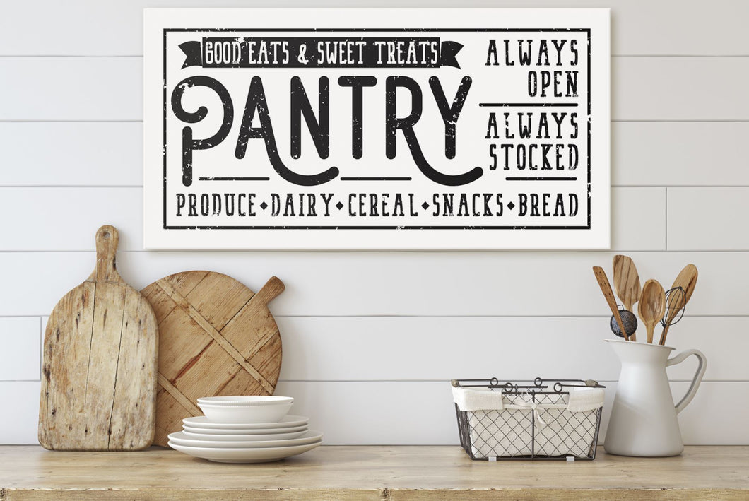 GOOD EATS & SWEET TREATS PANTRY SIGN (DISTRESSED WHITE) (WIDE) Denver to Dallas CANVAS WRAP 10X20
