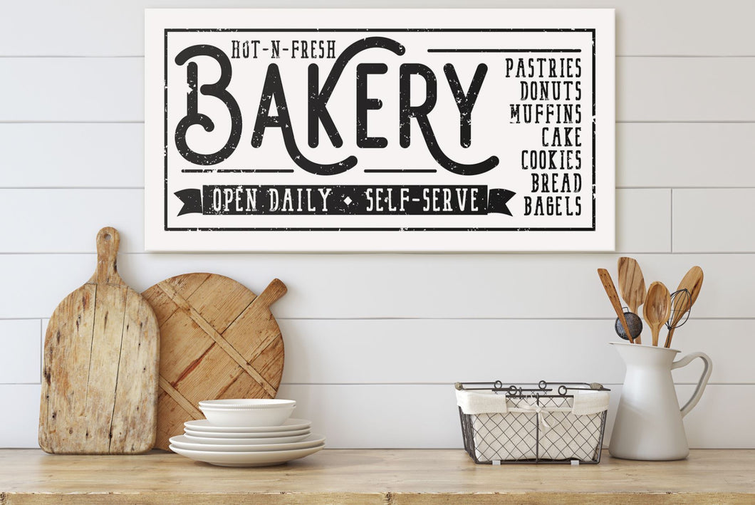 HOT-N-FRESH BAKERY SIGN (DISTRESSED WHITE) (WIDE) Denver to Dallas CANVAS WRAP 10X20