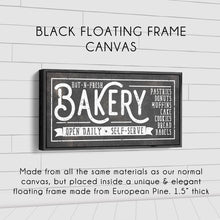 Load image into Gallery viewer, HOT-N-FRESH BAKERY SIGN (RUST BLACK) (WIDE) Denver to Dallas BLACK FLOATING FRAME CANVAS 10X20