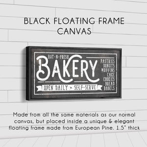 HOT-N-FRESH BAKERY SIGN (RUST BLACK) (WIDE) Denver to Dallas BLACK FLOATING FRAME CANVAS 10X20