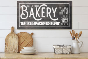 HOT-N-FRESH BAKERY SIGN (RUST BLACK) (WIDE) Denver to Dallas CANVAS WRAP 10X20