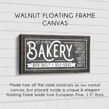 Load image into Gallery viewer, HOT-N-FRESH BAKERY SIGN (RUST BLACK) (WIDE) Denver to Dallas WALNUT FLOATING FRAME CANVAS 10X20