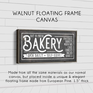HOT-N-FRESH BAKERY SIGN (RUST BLACK) (WIDE) Denver to Dallas WALNUT FLOATING FRAME CANVAS 10X20