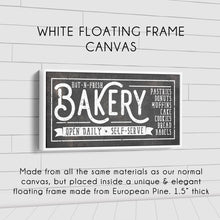 Load image into Gallery viewer, HOT-N-FRESH BAKERY SIGN (RUST BLACK) (WIDE) Denver to Dallas WHITE FLOATING FRAME CANVAS 10X20