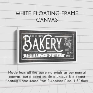 HOT-N-FRESH BAKERY SIGN (RUST BLACK) (WIDE) Denver to Dallas WHITE FLOATING FRAME CANVAS 10X20
