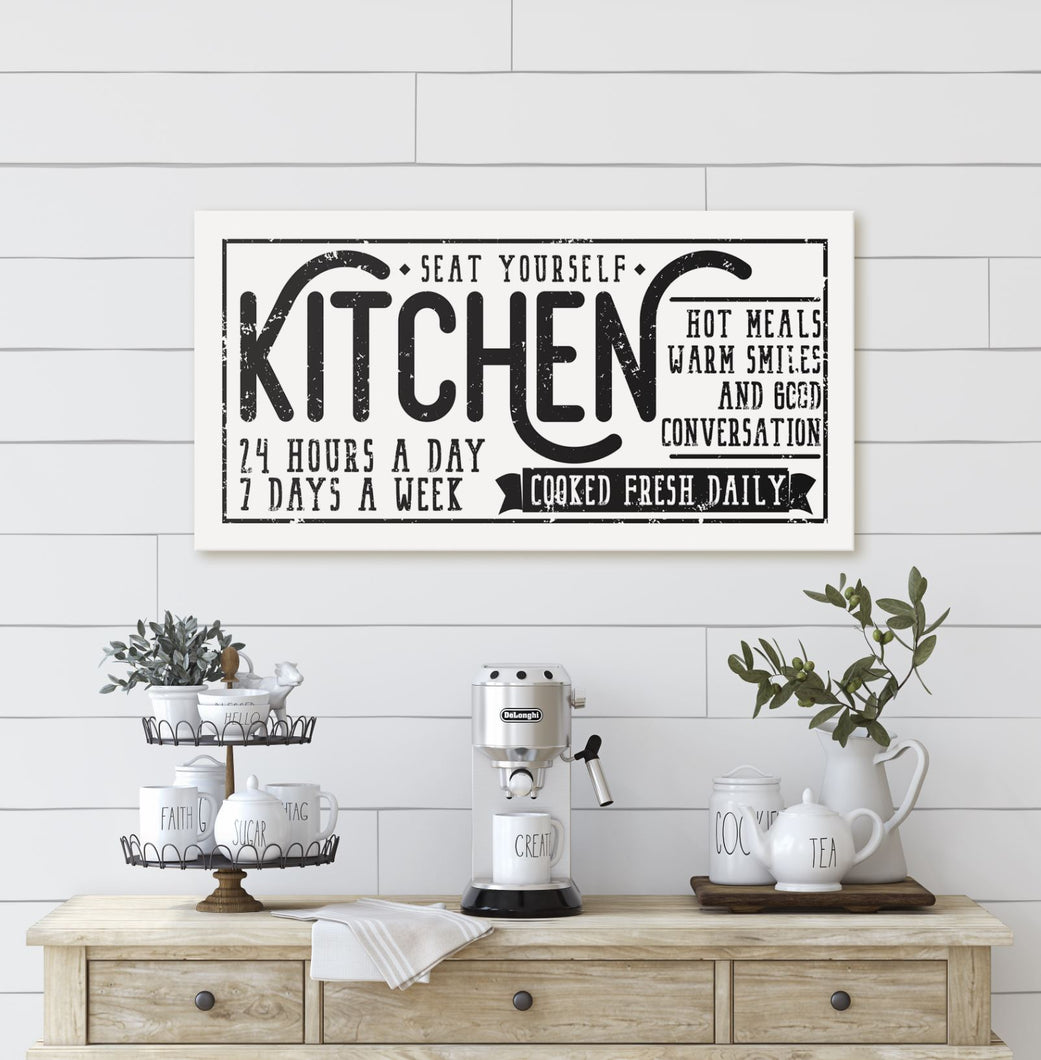 KITCHEN • COOKED FRESH DAILY SIGN (DISTRESSED WHITE) (WIDE) Denver to Dallas CANVAS WRAP 10X20
