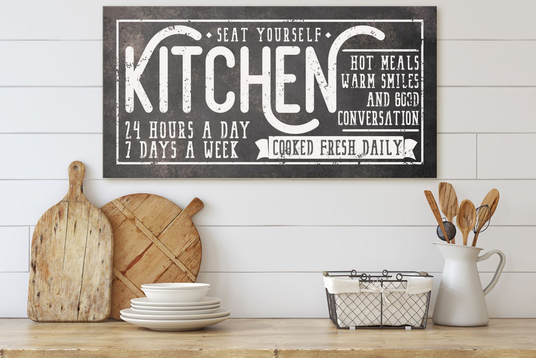 KITCHEN • COOKED FRESH DAILY SIGN (RUST BLACK) (WIDE) Denver to Dallas CANVAS WRAP 10X20