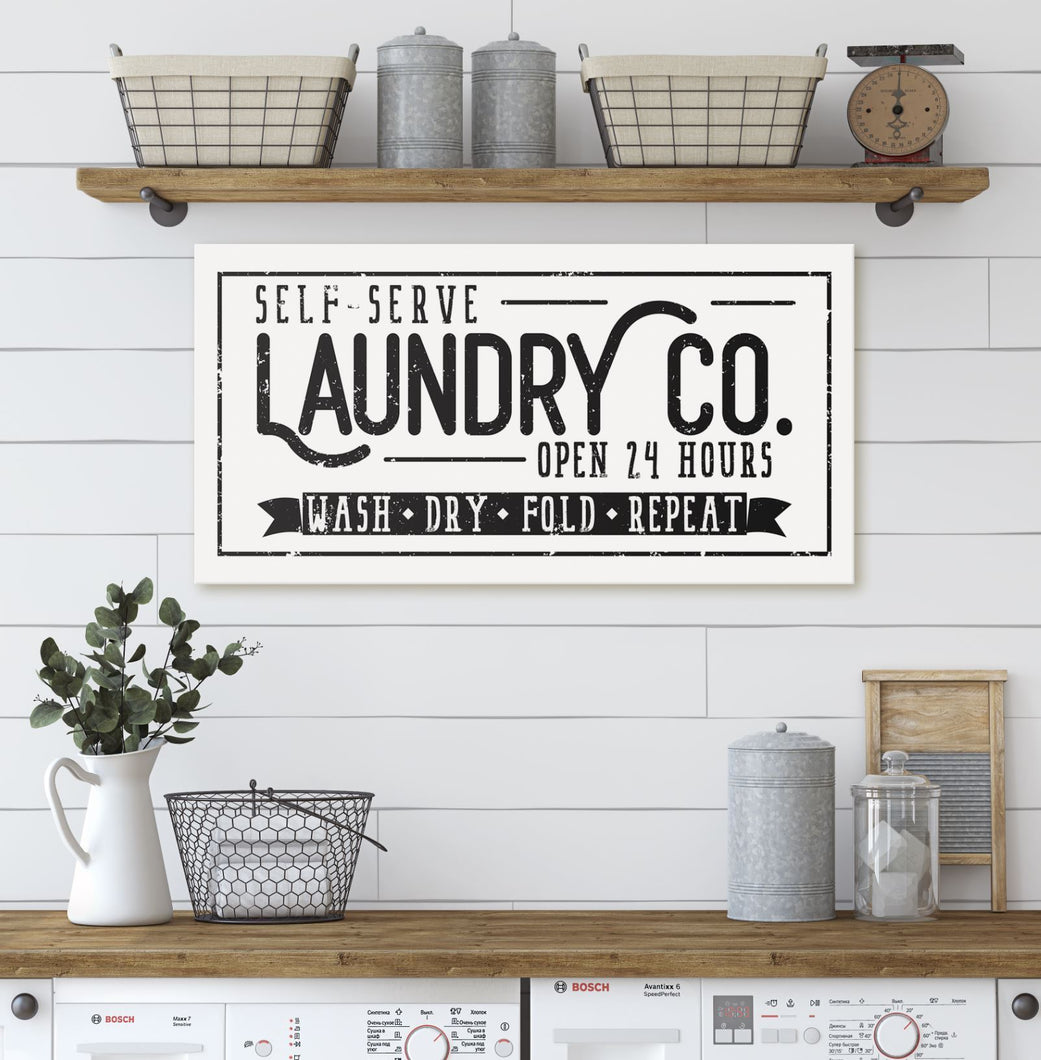LAUNDRY CO • WASH DRY FOLD REPEAT SIGN (DISTRESSED WHITE) (WIDE) Denver to Dallas CANVAS WRAP 10X20
