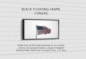 Old Glory Denver to Dallas BLACK FLOATING FRAME CANVAS 10X20