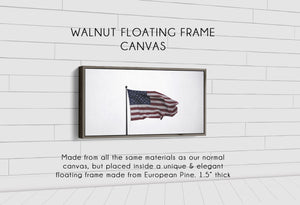 Old Glory Denver to Dallas WALNUT FLOATING FRAME CANVAS 10X20
