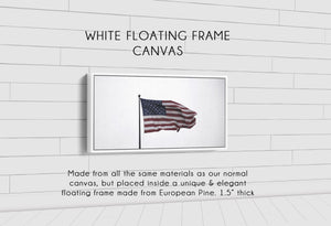 Old Glory Denver to Dallas WHITE FLOATING FRAME CANVAS 10X20