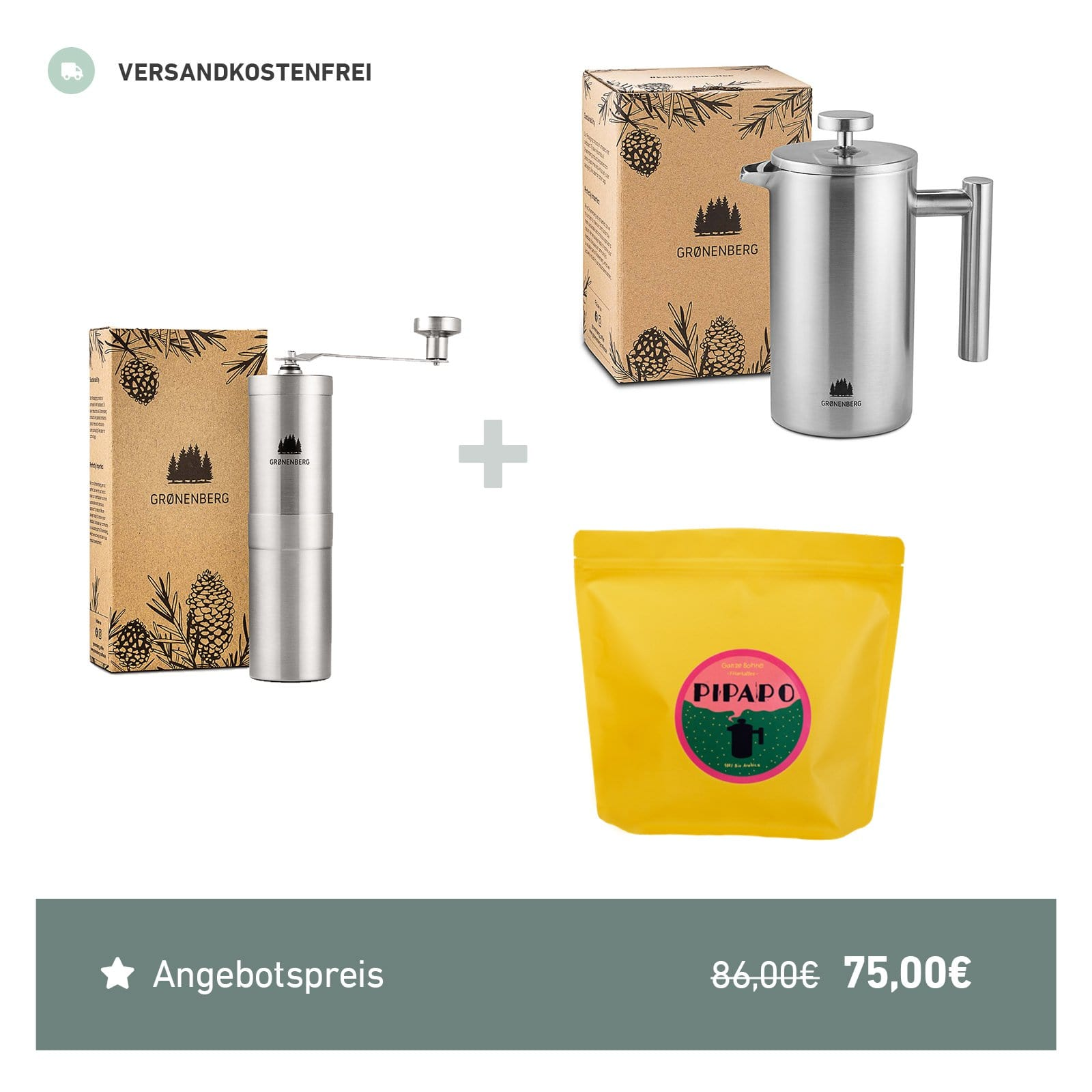 Spar Bundle 7: PIPAPO Filterkaffee Bohnen (500 g) + French Press 1 Liter + Kaffeemühle