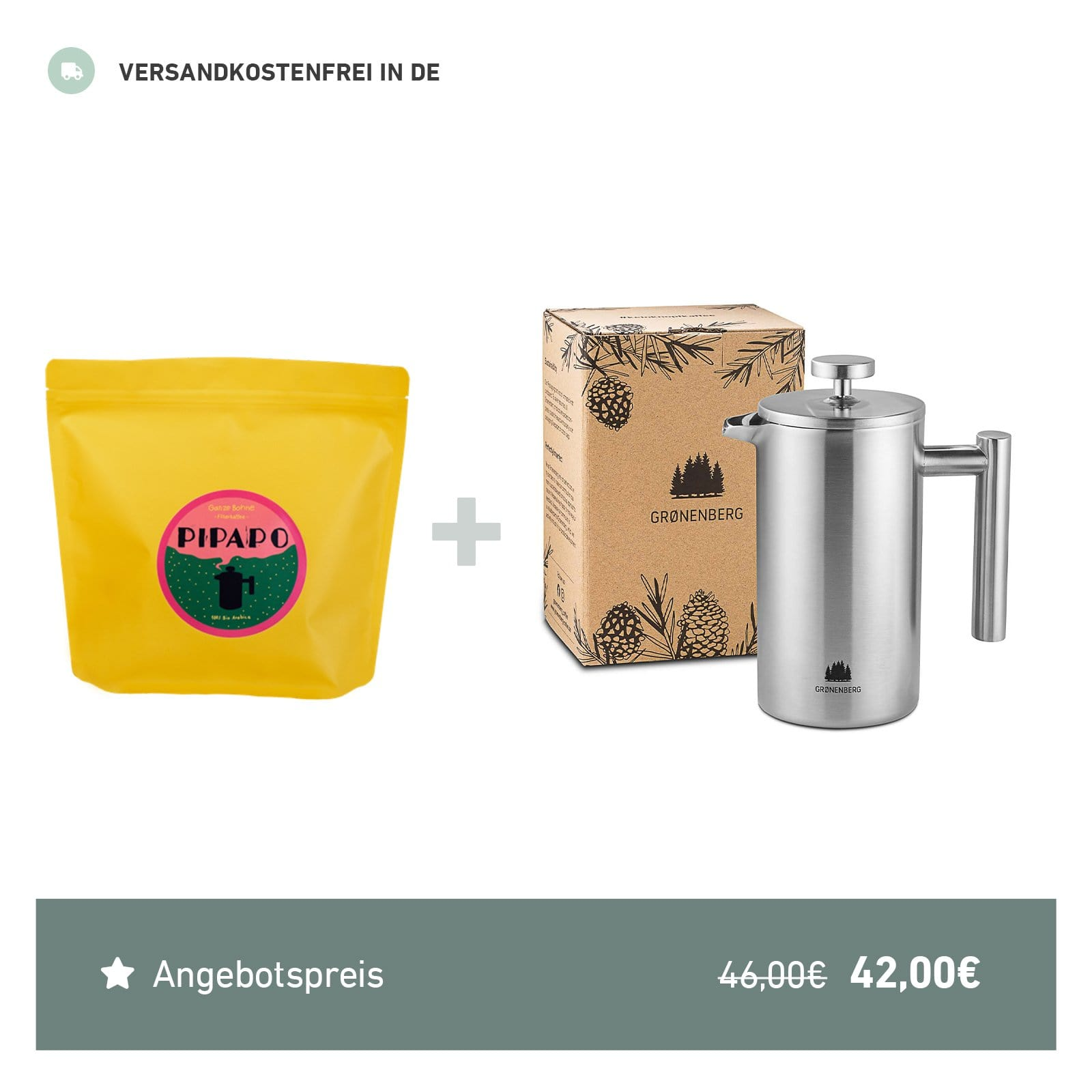 Spar Bundle 2: PIPAPO Filterkaffee Bohnen (250 g) + French Press 600 ml