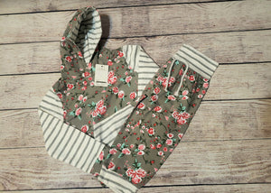 Grey flowers with white stripes hoodie set