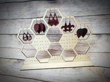 Load image into Gallery viewer, Honeycomb Wood Earring Stand