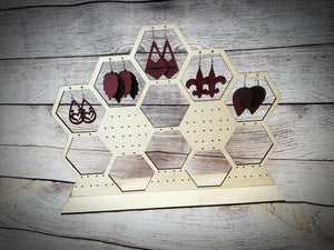 Honeycomb Wood Earring Stand