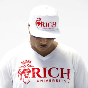 Rich U Mens Red & White Collection Set Shirt & Snap Back Cap