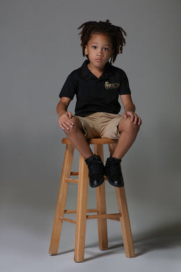 Rich U Black and Gold Signature Kids Polo