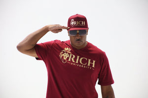 Rich U Mens Burgundy & Gold Collection Set Shirt & Snap Back Cap