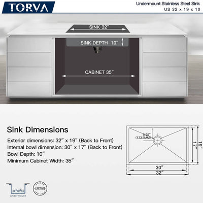 TORVA 32-Inch Undermount Stainless Steel Single Bowl Kitchen Sink