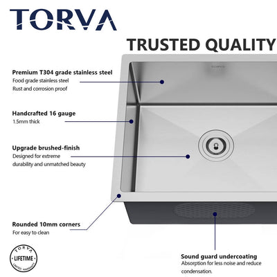TORVA 15 x 17 Inch Undermount 16 Gauge Stainless Steel Single Basin Kitchen Sink