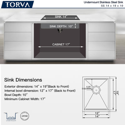 TORVA 14-Inch Workstation Undermount Stainless Steel Single Bowl Bar or Prep Kitchen Sink
