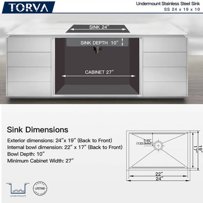 TORVA 24-Inch Workstation Undermount Stainless Steel Single Bowl Kitchen Sink
