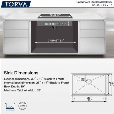 TORVA 30-Inch Workstation Undermount Stainless Steel Single Bowl Kitchen Sink