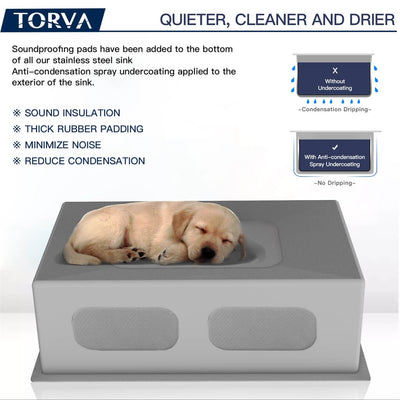 TORVA 17 X 19 Inch Undermount 16 Gauge Stainless Steel Single Basin Kitchen Sink