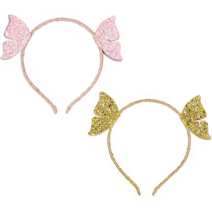 DOUBLE FLYING BUTTERFLY  HEADBAND - LEATHER - GLITTER