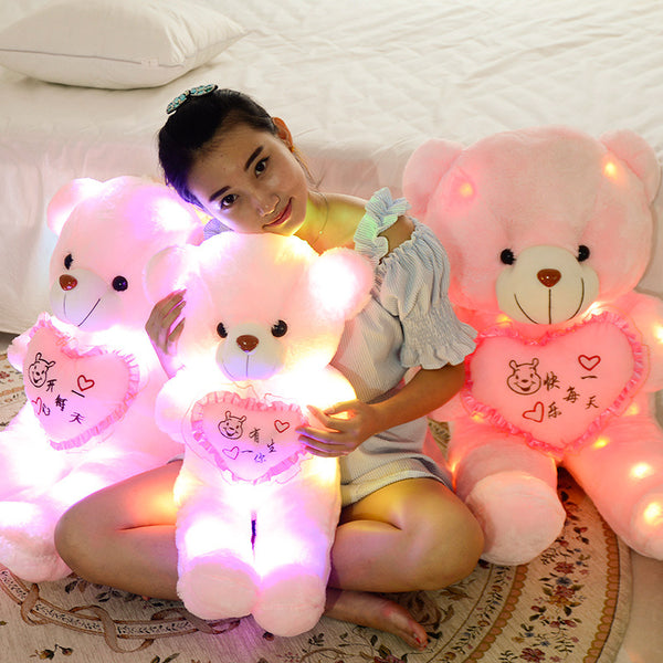 "20"" LED Light Up Heart Teddy Bear - Yellow or PInk"