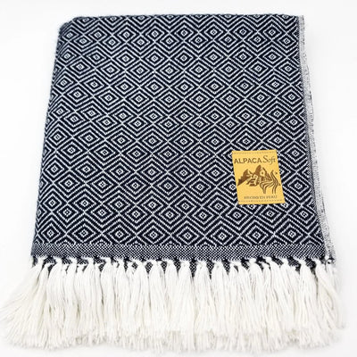 Dark Blue/White Alpaca Blanket