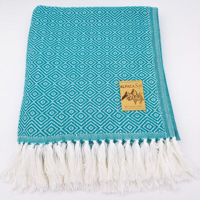 Teal/White Alpaca Blanket