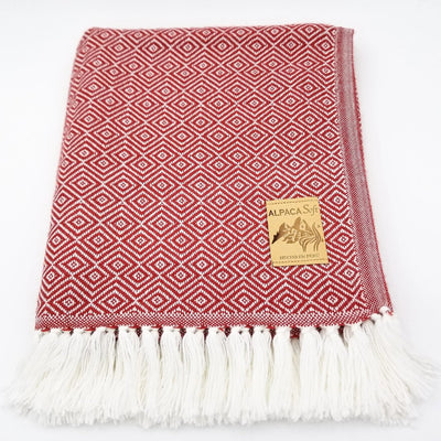 Red/White Alpaca Blanket