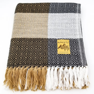 Plaid Black/Ocher/Light Gray Alpaca Blanket
