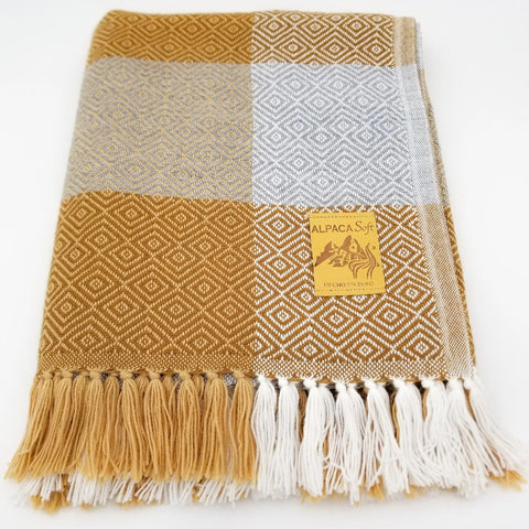 Plaid Ocher/Light Gray/White Alpaca Blanket